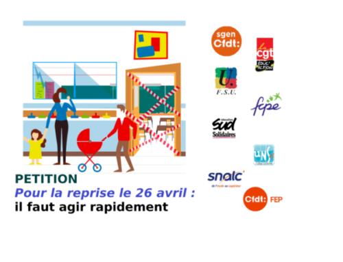 """Signez la pétition """"Reprise le 26 avril : agir rapidement !"""""""